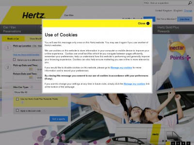 Hertz has no clearance or outlet section, but the company does have a section of their site devoted to special deals. Click on the