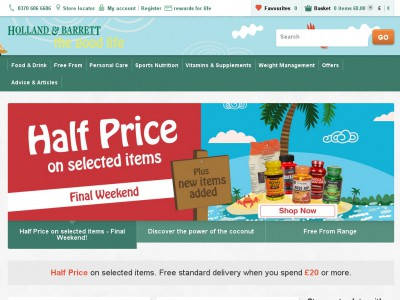 Holland and Barrett Promo Codes for December Save 50% w/ 14 active Holland and Barrett Promo Codes and Sales. Today's best moubooks.ml Coupon Code: Get £10 Off When You Spend £70, £20 Off When You Spend £ or £40 Off When You Spend £ at Holland and Bar 4/4(1).