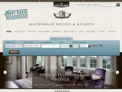 Macdonald Hotels Discount Code website view Macdonald Hotels, has its presence from Scotland to the South of England, Macdonald Hotels which is a UK hotel chain, comprises of 40 hotels. From the countryside to the city, all the hotels spell a beautiful charm and are inspired by the local character.