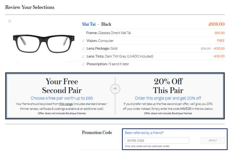 Glasses Direct cart
