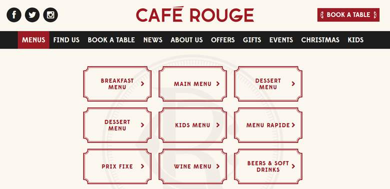 Cafe Rouge homepage