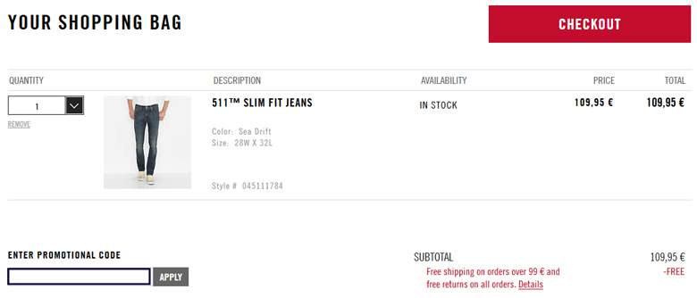 Levi's customers receive free delivery in the UK on every order over £, regardless of whether you've used a Levi's discount code or not. That means almost all jeans qualify for free delivery! Get a new pair of the originals and you can rock them in a few days, without worrying about the costs.