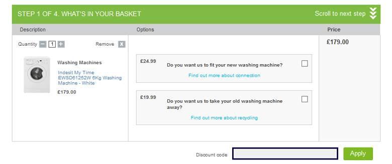 Appliances Online shopping cart