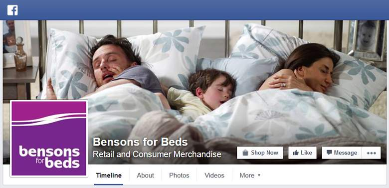 Bensons for Beds on Facebook