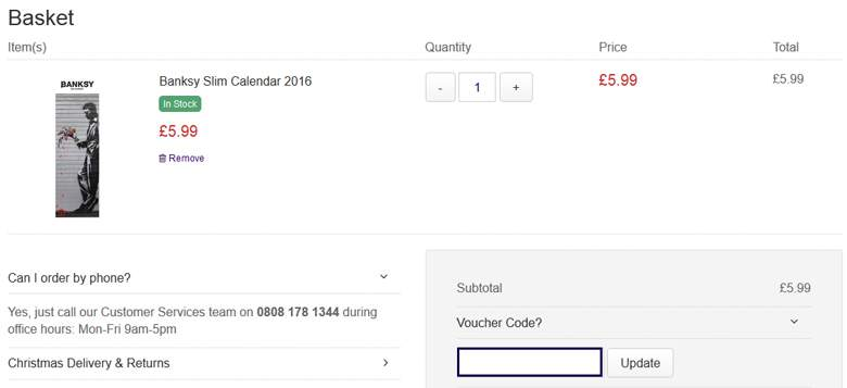 Calendar Club shopping cart